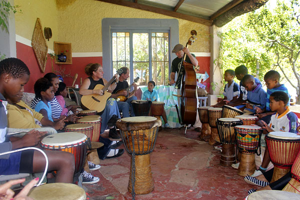 A drumming session in progress.