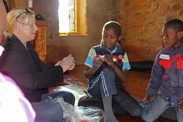 The pastoral psychologist Erica van Lingen with learners at Poplar Grove Farm.